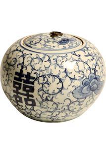 Vaso Decorativo De Porcelana Com Tampa Vigna