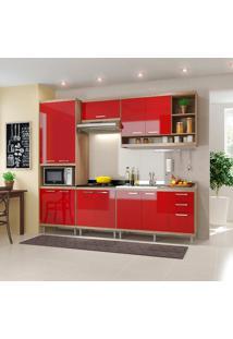 Cozinha Compacta 5 Peças Sicília 5808-S5 - Multimóveis - Argila / Vermelho