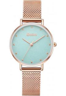 Relógio Lady Oulm Ht3671- Rose E Turquesa