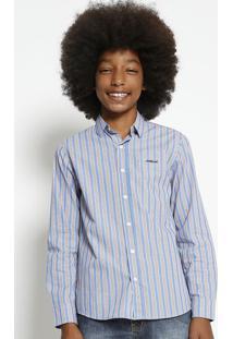 Camisa Listrada Com Manga Longa - Azul & Amarela - Ccolcci