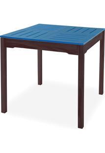 Mesa De Jantar Gourmet Compacta De Madeira Maciça Taeda Tabaco Com Tampo Colorido Olga - Verniz Tabaco/Azul 80X80X75Cm