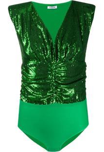 P.A.R.O.S.H. Body Gola V Com Franzido - Verde