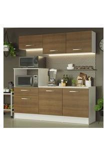Cozinha Compacta Madesa Onix 180001 Com Armário E Balcáo - Branco/Rustic Branco