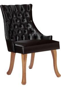 Cadeira De Jantar Leonardo Da Vinci Ii Capitonê Cetim Preta