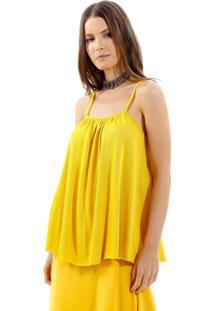 Regata Bobô Leticia Tricot Amarelo Feminina (Amarelo Medio, Gg)