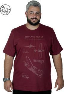Camiseta Bigshirts Estampa Airplane Bordô