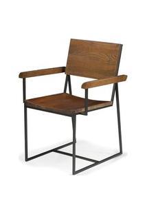 Cadeira York Com Braço Rustic Brown Base Grafite 83 Cm - 41602 Rustic