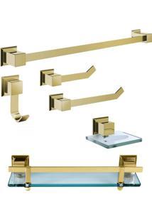 Kit Acessórios Para Banheiro 6 Peças Gold Ducon Metais Dourado