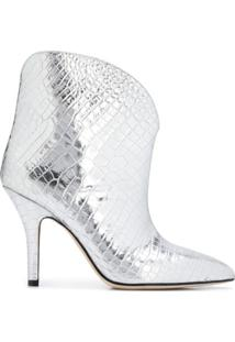 Paris Texas Metallic Embossed Ankle Boots - Cinza