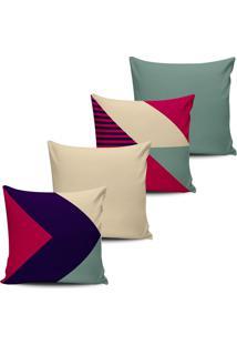 Kit 4 Capas Almofadas Geometrica Pink Roxo E Verde 45X45Cm - Tricae