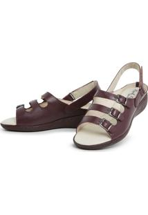 Sandalia Top Franca Shoes Feminina Conforto Vinho