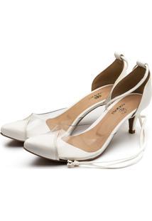Sapato Scarpin Salto Baixo Em Napa Branca Com Transparência - Kanui