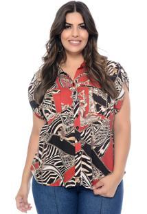 Camisa Marileti Plus Size Mullet Correntes Vermelho