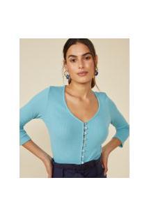 Amaro Feminino Blusa Canelada Botões, Azul Claro