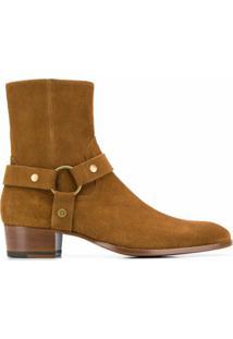 Saint Laurent Ankle Boot De Couro Com Fivela - Marrom