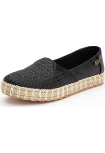 Slip On Casual Ousy Shoes Sola Corda 2019 Preto - Kanui