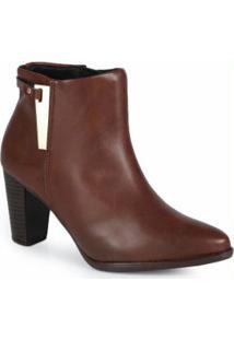 Ankle Boots Feminina Recorte Café