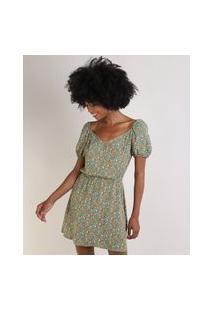 Vestido Feminino Curto Estampado Floral Manga Bufante Decote Reto Verde