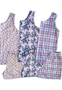 Kit 3 Pijamas Short Doll Regata Feminino