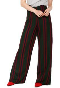 Calça Calvin Klein Jeans Pantalona Listrada Verde