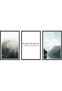 Quadro 60X120Cm Lugar De Paz Com Frase- Decorativo Moldura Preta Com Vidro