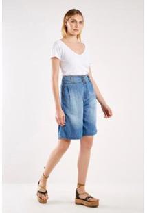 Bermuda Jeans Pregas Sacada Feminina - Feminino-Azul