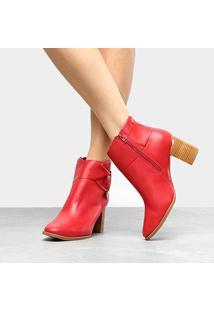 Bota Couro Cano Curto Bottero Bico Redondo Feminina - Feminino-Vermelho