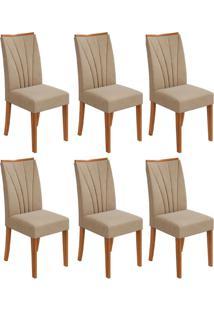 Conjunto Com 6 Cadeiras Apogeu Rovere E Creme