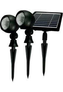Refletor Taschibra Prime Led Com Painel Solar 3000 K - Preto