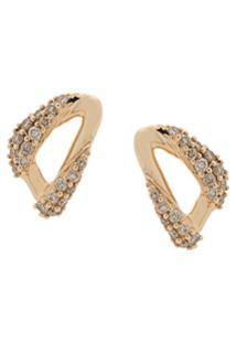 Astley Clarke Par De Brincos Xo Em Ouro Amarelo 14K Com Diamante - Dourado