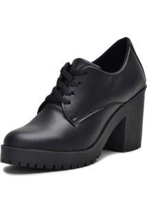 Bota Tratorado Oxford Mr Shoes Cano Curto Preto Fosco - Preto - Feminino - Sintã©Tico - Dafiti