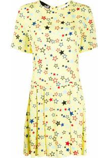 Love Moschino Vestido Reto Amarelo Com Estampa De Estrelas