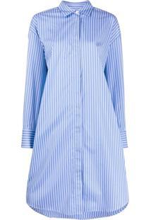 Msgm Striped Fringed Shirt Dress - Azul