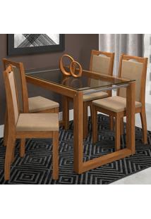 Conjunto De Mesa Com 4 Cadeiras Para Sala De Jantar 120X80 Anita/Livia-Cimol - Savana / Suede Marfim