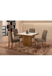 Conjunto De Mesa De Jantar Com 4 Cadeiras E Tampo De Madeira Maciça Arezo I Suede Castanho E Cinza