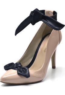 Sapato Scarpin Com Laço Salto Alto Fino Em Napa Verniz Nude