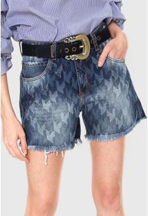 Bermuda Jeans Lança Perfume Hot Pant Com Cinto Azul