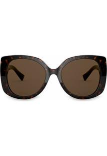 Versace Eyewear Óculos De Quadrado Medusa Icon - Marrom