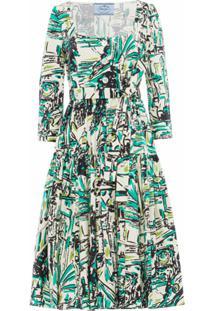 Prada Vestido Com Estampa Gráfica - Verde