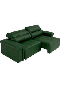 Sofá Retrátil E Reclinável 4 Lugares Maitê 256 Cm Couro Verde - Gran Belo