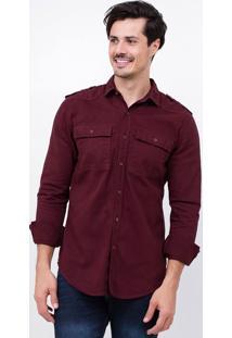 Camisa Em Sarja Com Bolsos