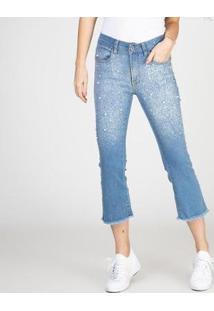 Calça Jeans Cropped Flare Bordado Pérola Delavê Bloom Feminina - Feminino