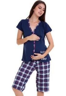 Pijama Amamentação Capri Luna Cuore - Feminino-Marinho