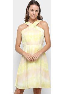 Vestido Curto Jolie Tie Dye Rodado - Feminino-Bege