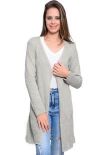Kimono Charme Tricot Longo Cinza