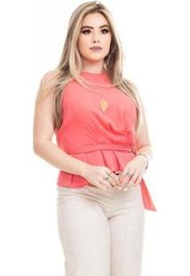 Blusa Clara Arruda Fivela Feminina - Feminino-Coral