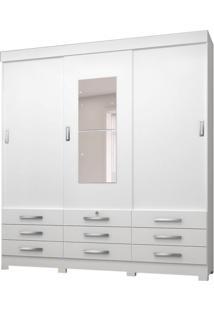 Guarda-Roupa Casal Com Espelho Tóquio 3 Pt 9 Gv Branco