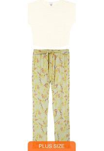Pijama Off White Estampado Com Linho Plus