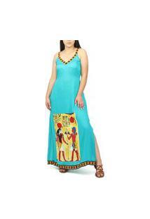 Vestido Longo Indiano India Com Alça Alcinha Viscose Estampa