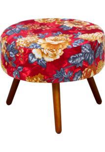 Puff Angel L02 Redondo Tecido Vermelho Estampado Pã©S Palito - Lyam Decor - Vermelho - Dafiti